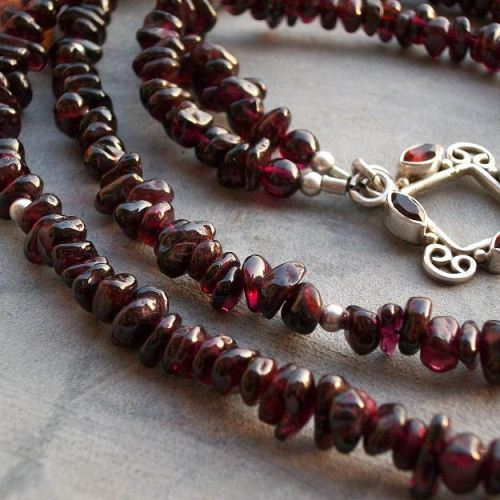 Buy Red garnet necklace - Silver necklace - Garnet bead necklace .