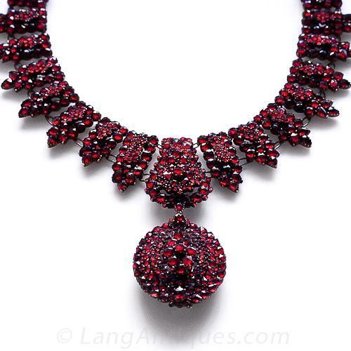 Victorian Bohemian Garnet Necklace with Locket - 90-1-4591 - Lang .