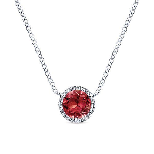 14k White Gold Diamond Garnet Necklace NK4616 - Fabri Fine Jewel