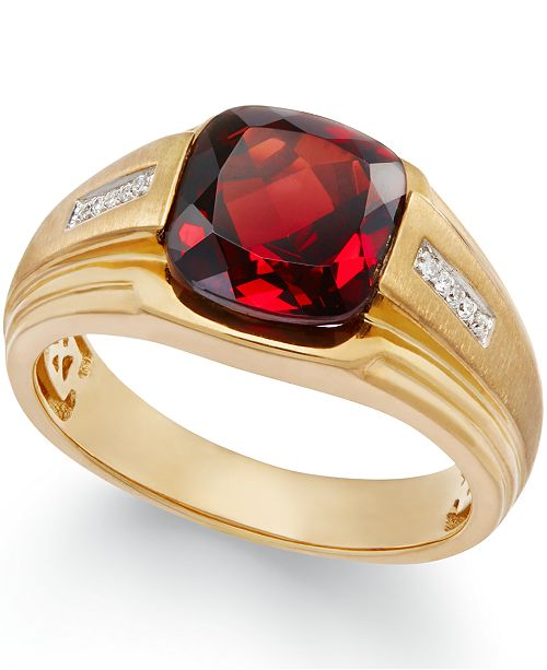 Macy's Men's Garnet (5 ct. t.w.) and Diamond Accent Ring in 10k .