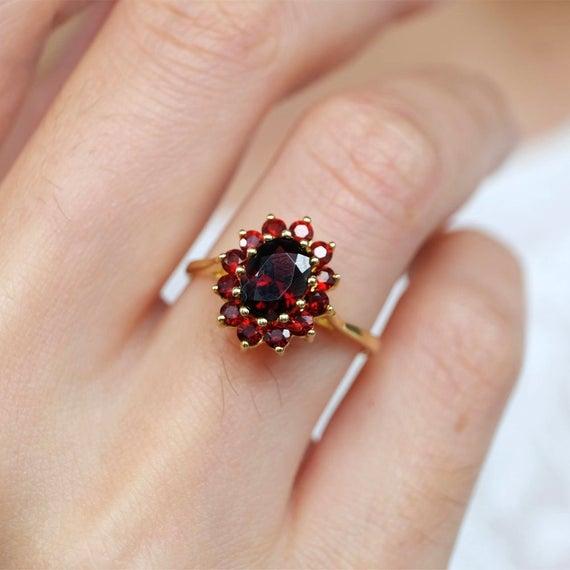 Garnet rings for women garnet birthstone rings red garnet | Et