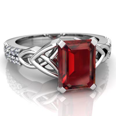 Garnet Celtic Knot Engagement ring R26448EM-WGR