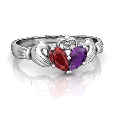 Garnet and Amethyst Claddagh Ring R2388-WGR