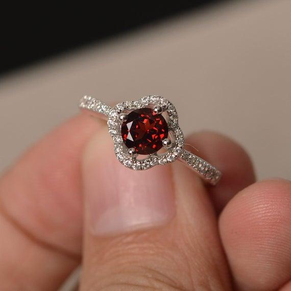 Garnet Rings Round Cut Rings Halo Ring Garnet Engagement Rings | Et