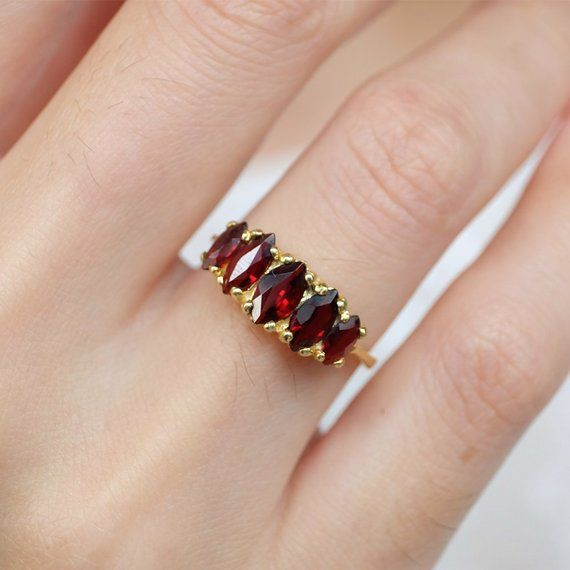 Marquise garnet ring, garnet rings for women, 14k garnet ring .