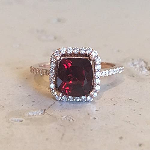 Amazon.com: Garnet Cushion Cut Engagement Ring- Rose Gold Garnet .