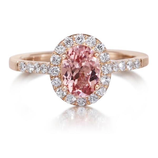 Parle Rose Gold Lotus Garnet Ring RCC139LG1RI 14KR - Rings .