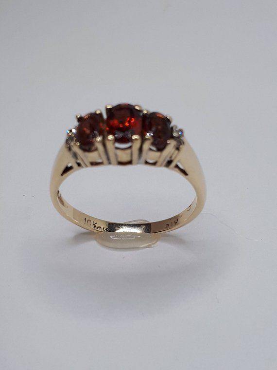 Garnet Ring, Women Garnet Ring, January Birthstone, 3 Stone Ring .