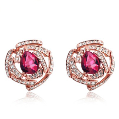 Wholesale Ruby Gemstone Pierced Earrings|mmtjewelry.c