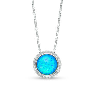 12.0mm Lab-Created Blue Opal, Green Opal and White Sapphire Frame .