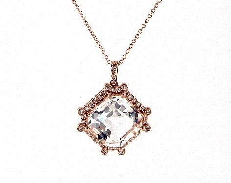 necklaces, gemstone necklaces, 18k rose gold octogan rock crystal .