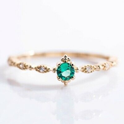 Cute Dainty Women's Emerald Delicate Gemstone Rings Wedding .