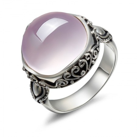 Retro Luxury 925 Sterling Silver Inlaid Natural Pink Crystal Ring .