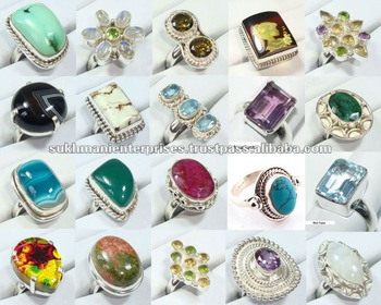 Wholesale 925 Sterling Silver Gemstone Rings, View adjustable .