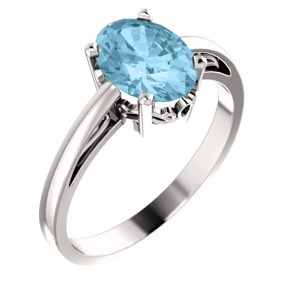Solitaire Scroll Setting® Ring 70531:104:P | Gemstone Rings from .