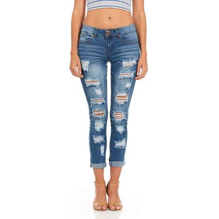 YDX Jeans - Cover Girl Denim Ripped Jeans for Women Juniors .