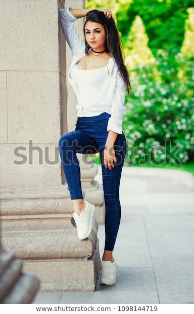 Stylish Girl Beautiful Young Girl Jeans Stock Photo (Edit Now .