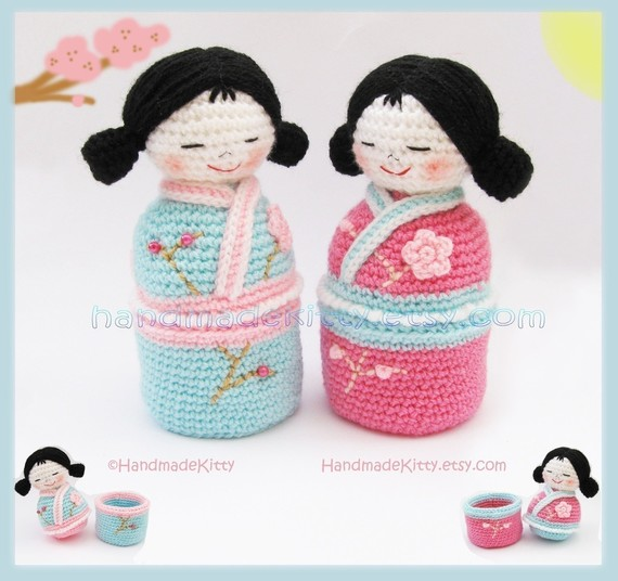 Japanese kokeshi girls jewelry box Amigurumi PDF Crochet Pattern .
