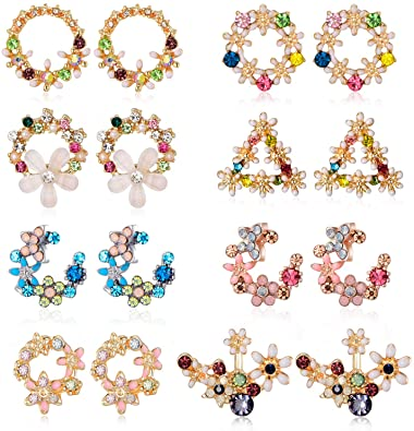 Amazon.com: 8 Paris Chic Folwer Stud Earrings with Colorful CZ .