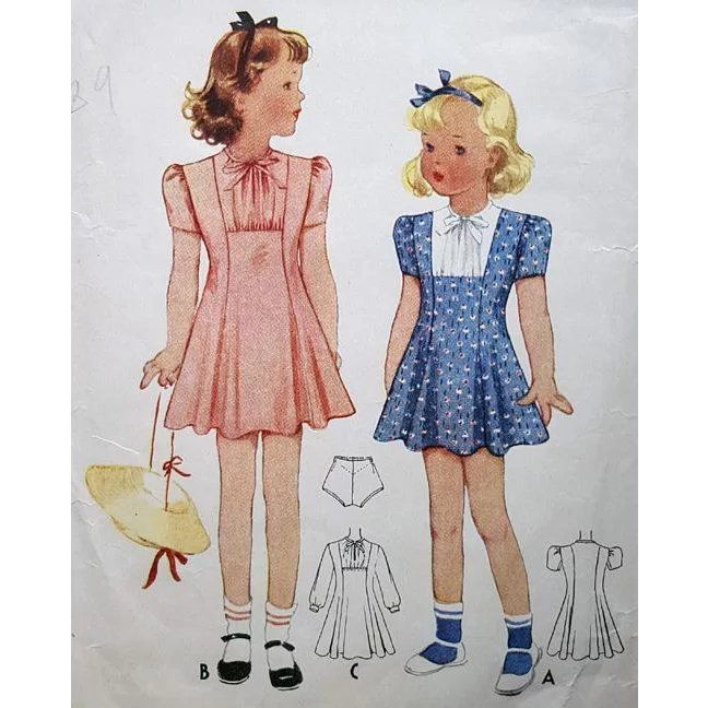 Vintage Sewing Pattern Little Girls Dress McCalls 1939 Size / Age .