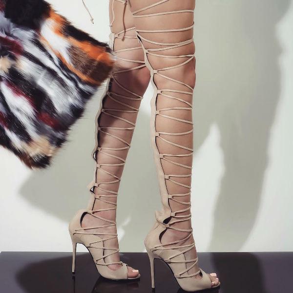 Lace Up Gladiator Heels - Nude - MyShoeBaz