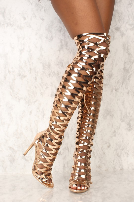 Sexy Rose Gold Caged Open Toe Gladiator Heels Metallic Faux .