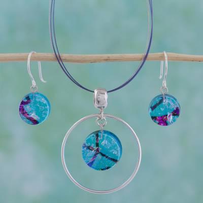 UNICEF Market | Dichroic art glass jewelry set - Hypnotic Blu