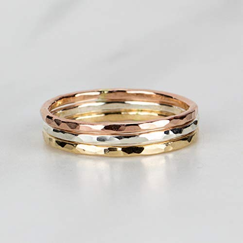 Amazon.com: Mixed Metal Stacking Rings, Set of 3, 14K Rose Gold .