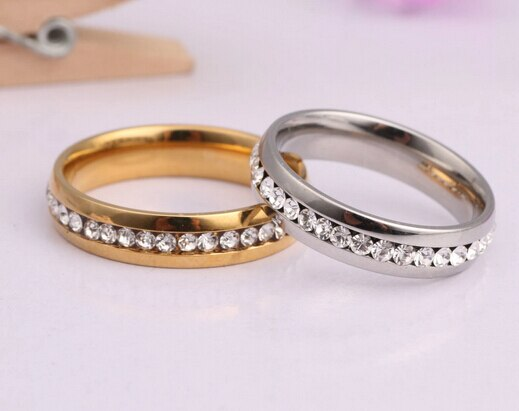 Engagement gift Packing Gold & Silver color couple ring Titanium .