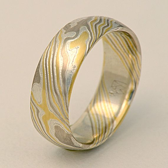Custom Mokume Gane 14k palladium white gold, 18k yellow gold and .