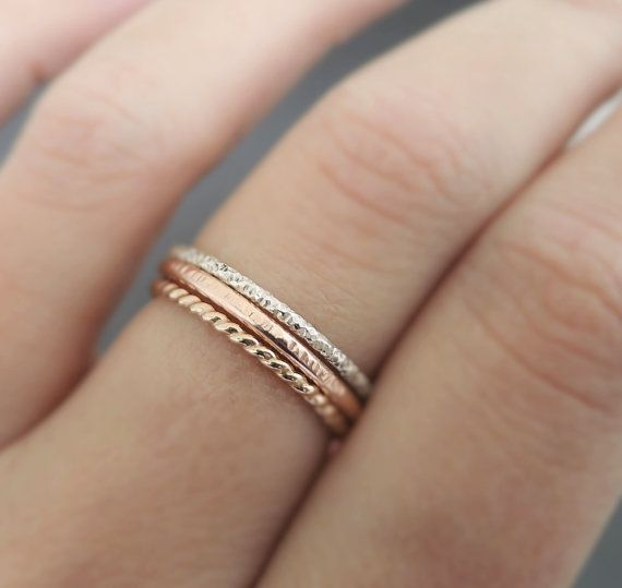 Set of 3 - Mixed Metal Stackable Rings 14 k ROSE Gold Filled + .