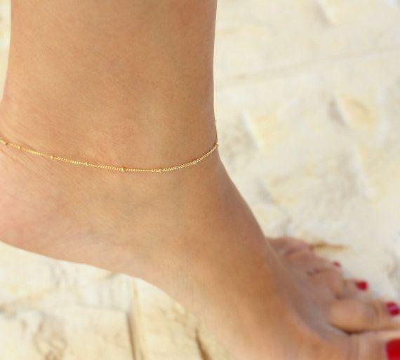 Dainty anklet - Beaded Anklet, ankle bracelet,Satellite,Simple .