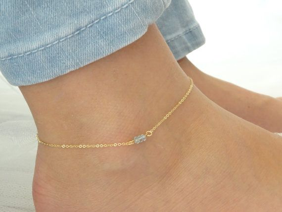 Aquamarine anklet, March Birthstone, Genuine Stone, Gold fill .