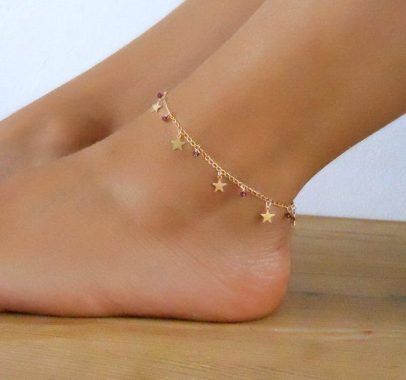 Star Charms And Beads Anklet, Gold Star Anklet, Delicate Gold .