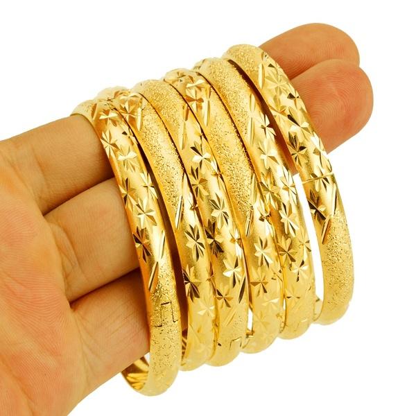 8MM Dubai Gold Bangle Jewelry for Women Men Gold Color Ethiopian .