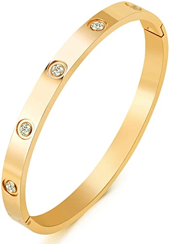 Amazon.com: MVCOLEDY Jewelry 18 K Gold Plated Bangle Bracelet CZ .