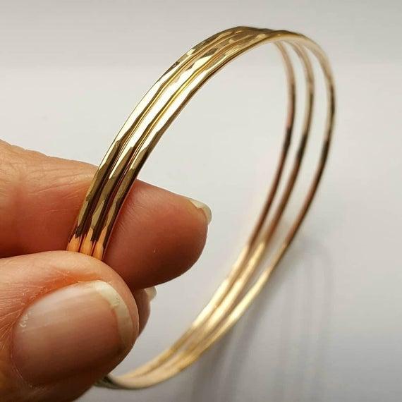 XXL Minimalist Gold Bangles Bracelets Set of 4 Special size 10 | Et