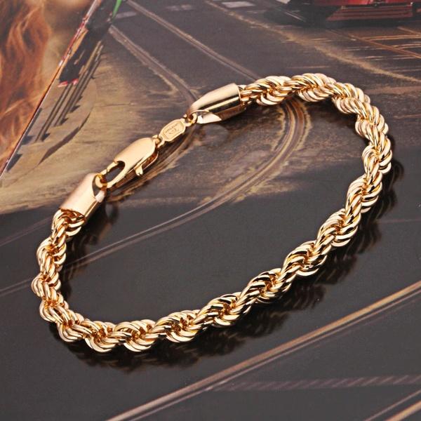 Mens Gold Bangle Bracelet Gold Vintage Pulseira Ouro 18K Pulseras .