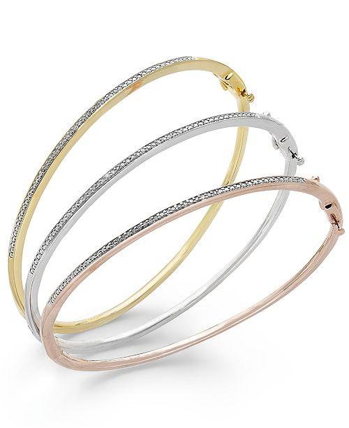 Macy's Diamond Bangle Bracelet Trio in 14k Gold and 14k Rose Gold .