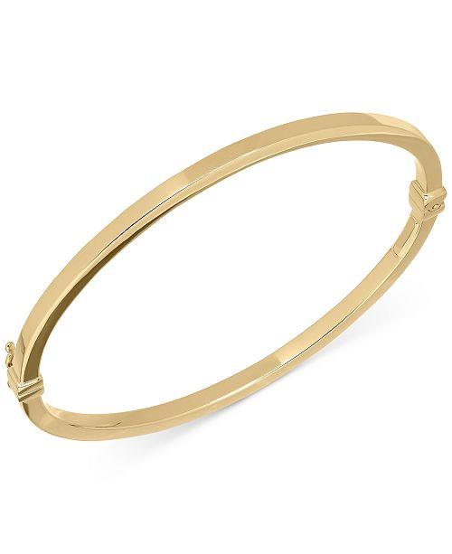 Italian Gold Square Tube Hinge Bangle Bracelet in 14k Gold .