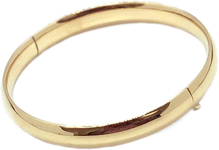 Amazon.com: Ritastephens 14k Solid Yellow Gold Shiny Bangle .
