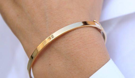 Plain Gold Bracelet Gold Bangle Bracelet Simple Real Gold | Et