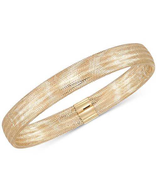 Italian Gold Stretch Bangle Bracelet in 14k Yellow, White or Rose .