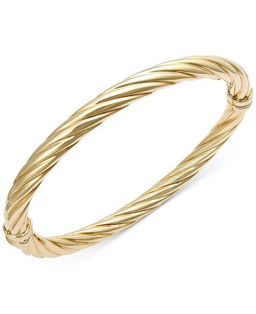Italian Gold Twist Hinge Bangle Bracelet in 14k Gold or White Gold .