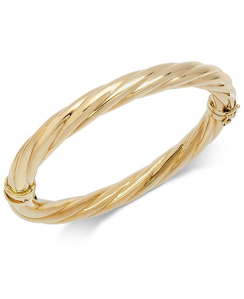 Italian Gold Polished Twisted Bangle Bracelet in 14k Gold .
