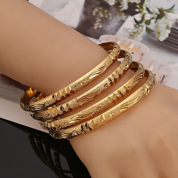 Openable Dubai Gold Bangles 64mm*6mm Width Women Men 4pcs Gold .