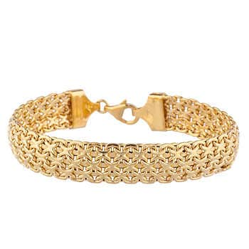 18kt Yellow Gold Three Row Bismark Bracel