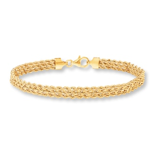 "Triple Rope Bracelet 10K Yellow Gold 7.5"" Length 