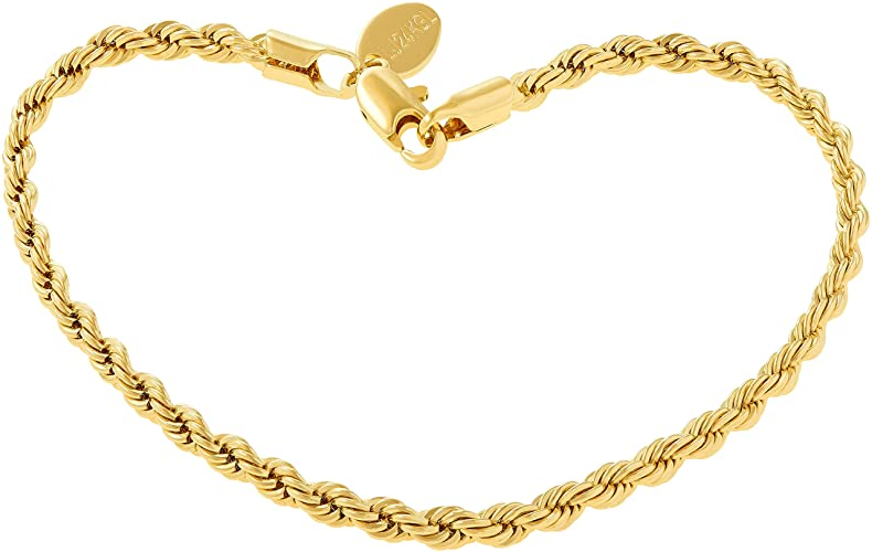 Amazon.com: Lifetime Jewelry 3mm Rope Chain Bracelet 24k Real Gold .