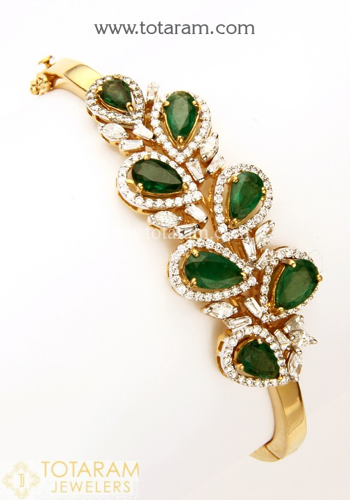 18K Gold Diamond Bracelet for Women With Emerald - 235-DBR185 in .